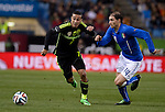 Tiago Alcantara vies with  during the FIFA friendly football match Spain vs Italy on March 5, 2014 on the eve of their World Cup 2014 at the Vicente Calderon stadium in Madrid.  PHOTOCALL3000 / DP