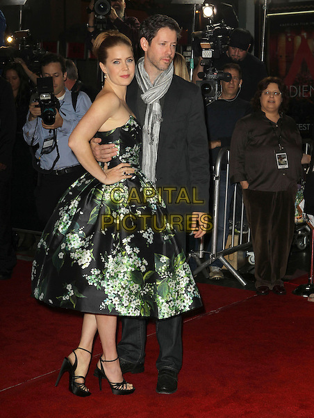 Amy Adams, Darren Le Gallo.AFI FEST 2012 'On The Road' gala screening, Grauman's Chinese Theatre, Hollywood, California, USA..3rd November 2012.full length dress black strapless green floral print ankle strap shoes black suit jacket jeans denim grey gray scarf side couple hand on hip.CAP/ADM/KB.©Kevan Brooks/AdMedia/Capital Pictures.