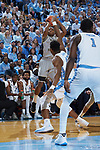 Brandon Childress (0) of the Wake Forest Demon Deacons attempts a jump shot during first half action against the North Carolina Tar Heels at the Dean Smith Center on December 30, 2017 in Chapel Hill, North Carolina.  The Tar Heels defeated the Demon Deacons 73-69.  (Brian Westerholt/Sports On Film)