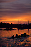 Sunrise on the Montlake Cut with eight women crew rowing