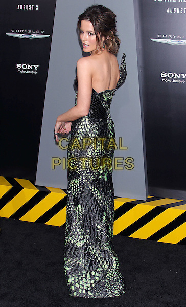 """Kate Beckinsale.""""Total Recall"""" Los Angeles Premiere held at Grauman's Chinese Theatre, Hollywood, California, USA..August 1st, 2012.full length dress black strapless green one shoulder snakeskin animal print looking over shoulder .CAP/ADM/RE.©Russ Elliot/AdMedia/Capital Pictures."""