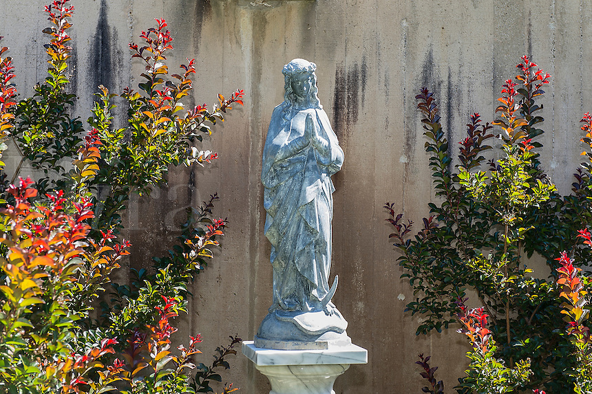 Garden with Blessed Mother statue.