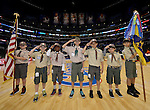 "LOS ANGELES, CA - MARCH 12:  ""One Day One Game"" The Boy Scouts of America bring out the American Flag before the game against the Los Angeles Clippers and the Golden State Warriors during their NBA Game at the Staples Center  on March 12, 2014 in Los Angeles, California.  (Photo by Donald Miralle for ESPN the Magazine)"