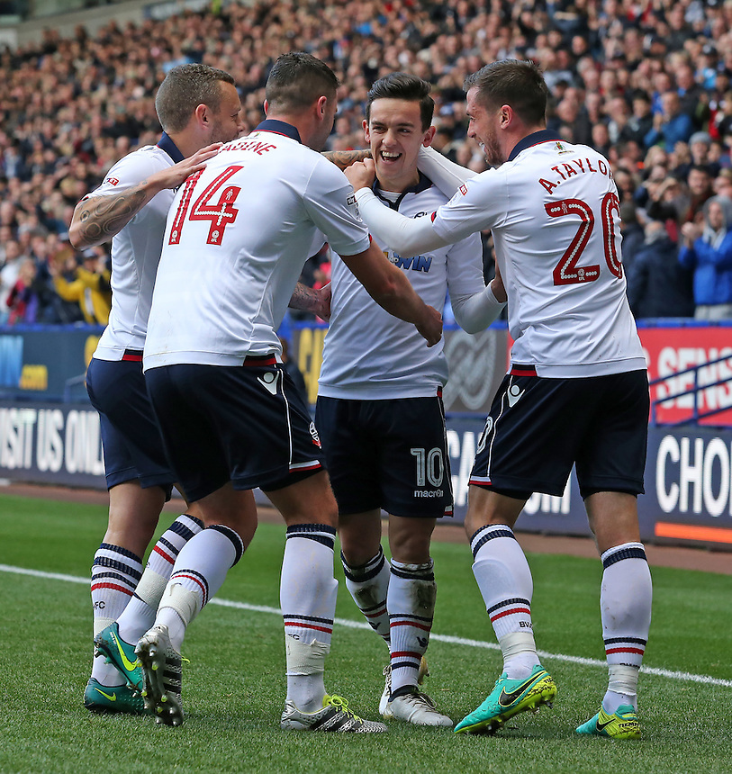 Bolton Wanderers' Zach Clough (left) celebrates scoring his sides first goal<br /> <br /> Photographer David Shipman/CameraSport<br /> <br /> The EFL Sky Bet League One - Bolton Wanderers v Oldham Athletic - Saturday 15th October 2016 - Macron Stadium - Bolton<br /> <br /> World Copyright &copy; 2016 CameraSport. All rights reserved. 43 Linden Ave. Countesthorpe. Leicester. England. LE8 5PG - Tel: +44 (0) 116 277 4147 - admin@camerasport.com - www.camerasport.com