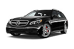 Stock pictures of low aggressive front three quarter view of a 2015 Mercedes Benz E Class E63 AMG S 5 Door Wagon Low Aggressive