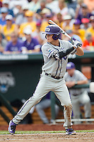 TCU Horned Frogs designated hitter Connor Wanhanen (16) at bat against the LSU Tigers in the NCAA College World Series on June 14, 2015 at TD Ameritrade Park in Omaha, Nebraska. TCU defeated LSU 10-3. (Andrew Woolley/Four Seam Images)