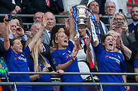 The Chelsea Ladies team celebrates with the winners trophy <br /> <br /> Photographer Craig Mercer/CameraSport<br /> <br /> The SSE Women's FA Cup Final - Arsenal Women v Chelsea Ladies - Saturday 5th May 2018 - Wembley Stadium - London<br />  <br /> World Copyright &copy; 2018 CameraSport. All rights reserved. 43 Linden Ave. Countesthorpe. Leicester. England. LE8 5PG - Tel: +44 (0) 116 277 4147 - admin@camerasport.com - www.camerasport.com