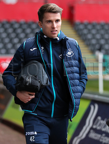 February 12th 2017, Liberty Stadium, Swansea, Wales; Premier league football, Swansea versus Leicester City; Swansea City's Tom Carroll arrives at the stadium