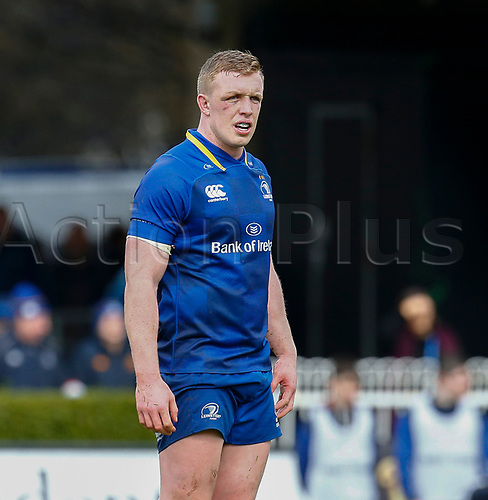7th April 2018, RDS Arena, Dublin, Ireland; Guinness Pro14 rugby, Leinster versus Zebre; Dan Leavy of Leinster waits for play to resume