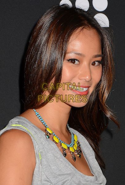 Jamie Chung<br /> The Myspace Event held at The El Rey Theatre in Los Angeles, California, USA.<br /> June 12th, 2013<br /> headshot portrait yellow blue beads necklace grey gray sleeveless top <br /> CAP/ADM/BT<br /> &copy;Birdie Thompson/AdMedia/Capital Pictures