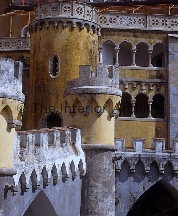 A cluster of towers and castellated terraces at Palacio de Pena