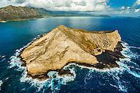An aerial view of the back side of Manana (a.k.a. Rabbit) Island near Makapu'u Beach, Windward O'ahu.