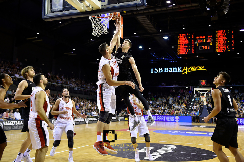 New Zealand Tall Blacks' Tom Abercromble and Syria's Abdulwahab Alhamwi in action during the FIBA World Cup Basketball Qualifier - NZ Tall Blacks v Syria at TSB Bank Arena, Wellington, New Zealand on Sunday 2 2018. <br /> Photo by Masanori Udagawa. <br /> www.photowellington.photoshelter.com