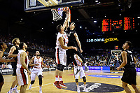 New Zealand Tall Blacks&rsquo; Tom Abercromble and Syria&rsquo;s Abdulwahab Alhamwi in action during the FIBA World Cup Basketball Qualifier - NZ Tall Blacks v Syria at TSB Bank Arena, Wellington, New Zealand on Sunday 2 2018. <br /> Photo by Masanori Udagawa. <br /> www.photowellington.photoshelter.com