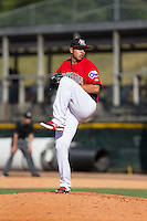 Hickory Crawdads pitcher Ariel Jurado (19) in action against the Savannah Sand Gnats at L.P. Frans Stadium on June 14, 2015 in Hickory, North Carolina.  The Crawdads defeated the Sand Gnats 8-1.  (Brian Westerholt/Four Seam Images)