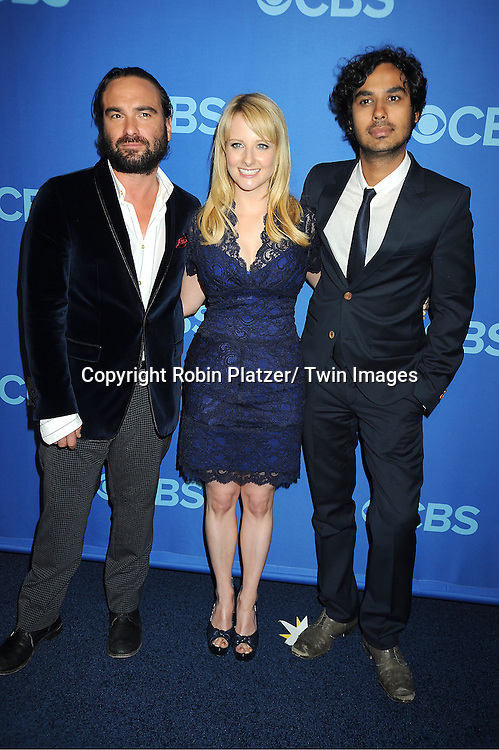 cast of The Big Bang Theory , Johnny Galecki, Melissa Rauch and Kunal Nayyar attend the CBS Prime Time 2013 Upfront on May 15, 2013 at Lincoln Center in New York City.