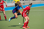 GER - Mannheim, Germany, April 15: During the field hockey 1. Bundesliga match between Mannheimer HC (blue) and Rot-Weiss Koeln (red) on April 15, 2018 at Am Neckarkanal in Mannheim, Germany. Final score 2-1.  Florencia Habif #18 of Mannheimer HC, Pia Oldhafer #3 of Rot-Weiss Koeln<br /> <br /> Foto &copy; PIX-Sportfotos *** Foto ist honorarpflichtig! *** Auf Anfrage in hoeherer Qualitaet/Aufloesung. Belegexemplar erbeten. Veroeffentlichung ausschliesslich fuer journalistisch-publizistische Zwecke. For editorial use only.