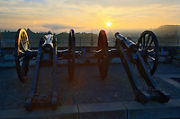 Cannons facing west at sunset, from Munot Castle, Schaffhausen, Switzerland