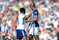 Tottenham Hotspur's Danny Rose pushes West Bromwich Albion's Allan-Romeo Nyom<br /> <br /> Photographer Ashley Crowden/CameraSport<br /> <br /> The Premier League - West Bromwich Albion v Tottenham Hotspur - Saturday 5th May 2018 - The Hawthorns - West Bromwich<br /> <br /> World Copyright &copy; 2018 CameraSport. All rights reserved. 43 Linden Ave. Countesthorpe. Leicester. England. LE8 5PG - Tel: +44 (0) 116 277 4147 - admin@camerasport.com - www.camerasport.com