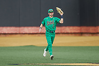 Notre Dame Fighting Irish center fielder Spencer Myers (2) catches a fly ball during the game against the Wake Forest Demon Deacons at David F. Couch Ballpark on March 10, 2019 in  Winston-Salem, North Carolina. The Fighting Irish defeated the Demon Deacons 8-7 in 10 innings in game two of a double-header. (Brian Westerholt/Four Seam Images)