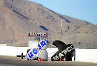 Oct. 27, 2012; Las Vegas, NV, USA: NHRA top fuel driver Antron Brown during qualifying for the Big O Tires Nationals at The Strip in Las Vegas. Mandatory Credit: Mark J. Rebilas-
