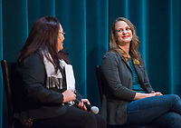 NWA Democrat-Gazette/BEN GOFF @NWABENGOFF<br /> Arisbeth Johnson (left), Northwest education programs director for Arkansas United, and state Rep. Megan Godfrey, D-Springdale, director of English language learning for Fayetteville Public Schools, take part in the panel Saturday, Feb. 9, 2019, during the Northwest Arkansas Education Town Hall at the Jones Center in Springdale.