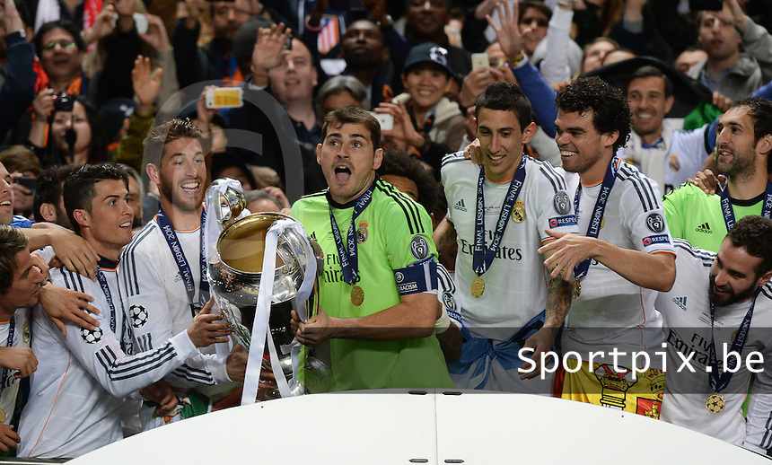 20140524 - LISBON , PORTUGAL : Real Madrid pictured celebrating during soccer match between Real Madrid CF and Club Atletico de Madrid in the UEFA Champions League Final on Saturday 24 May 2014 in Estadio Da Luz in Lisbon .  PHOTO DAVID CATRY