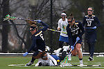 01 March 2015: Notre Dame's Casey Pearsall (right) collects the ball as Notre Dame's Stephanie Toy (6) and Duke's Katie Trees (center) collide and fall. The Duke University Blue Devils hosted the University of Notre Dame Fighting Irish on the West Turf Field at the Duke Athletic Field Complex in Durham, North Carolina in a 2015 NCAA Division I Women's Lacrosse match. Duke won the game 17-3.