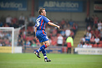 Scott Donnelly of Aldershot Town in the Blue Bell BMW Stand, celebrates scoring his team's first goal and equaliser during the League 2 fixture between Crewe Alexandra and Aldershot Town at the Alexandra Stadium. The visitors won by 2 goals to 1.