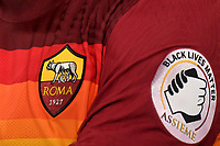 The new AS Roma shirt with four horizontal bands and a patch of Black Lives Matter during the Serie A football match between AS Roma and ACF Fiorentina at stadio Olimpico in Roma (Italy), July 26th, 2020. Play resumes behind closed doors following the outbreak of the coronavirus disease. <br /> Photo Antonietta Baldassarre / Insidefoto