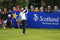 Azahara Munoz (ESP) of Team Europe on the 11th tee during Day 1 Fourball at the Solheim Cup 2019, Gleneagles Golf CLub, Auchterarder, Perthshire, Scotland. 13/09/2019.<br /> Picture Thos Caffrey / Golffile.ie<br /> <br /> All photo usage must carry mandatory copyright credit (© Golffile | Thos Caffrey)