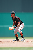 GCL Orioles first baseman Juan Montes (9) during a game against the GCL Red Sox on August 9, 2018 at JetBlue Park in Fort Myers, Florida.  GCL Red Sox defeated GCL Orioles 10-4.  (Mike Janes/Four Seam Images)