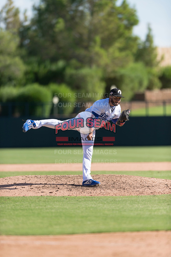 Glendale Desert Dogs relief pitcher Jordan Sheffield (10), of the Los Angeles Dodgers organization, follows through on his delivery during an Arizona Fall League game against the Mesa Solar Sox at Camelback Ranch on October 15, 2018 in Glendale, Arizona. Mesa defeated Glendale 8-0. (Zachary Lucy/Four Seam Images)