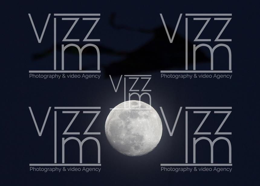 BOGOTA -COLOMBIA, 05-08-2017: Una cometa vuela en el cielo del Parque Simón Bolívar con el fondo de la Luna. / A kite flies on the sky of the Simón Bolívar Park in Bogota, Colombia with the background of the Moon. Photo: VizzorImage / Felipe Caicedo / Staff