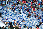 Queens Park Rangers 1 Derby County 0, 24/05/2014. Wembley Stadium, Championship Play Off Final. Queens Park Rangers fans wave flags ahead of the Championship Play-Off Final between Queens Park Rangers and Derby County from Wembley Stadium. Queens Park Rangers won the game 1-0 to gain promotion to the Premier League.  Photo by Simon Gill.