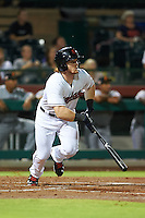Scottsdale Scorpions outfielder Clint Frazier (15) hits a home run during an Arizona Fall League game against the Salt River Rafters on October 14, 2015 at Scottsdale Stadium in Scottsdale, Arizona.  Scottsdale defeated Salt River 13-3.  (Mike Janes/Four Seam Images)