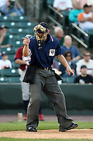 July 1st 2008:  Home plate umpire David Uyl during a game at Frontier Field in Rochester, NY.  Photo by:  Mike Janes/Four Seam Images