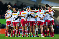The Harlequins team huddle together prior to the match. Aviva Premiership match, between Leicester Tigers and Harlequins on November 20, 2016 at Welford Road in Leicester, England. Photo by: Patrick Khachfe / JMP