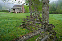 Great Smoky Mountains National Park, Tennessee:<br /> Cades Cove, the Dan Lawson Place with split rail fence in early spring