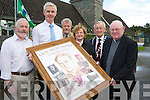 Fr Pat Horgan and Pearl Dineen, pictured as they made a presentation of a montage of Monsignior Hugh O'Flaherty, to Colm O'Suilleabhain,principal of the Monatsary National School, Killarney, where the Monsignoir was a pupil between 1909 and 1914. Also pictured are from left Gerry Murphy, Jerry O'Grady and Cllr Sean O'Grady, Killarney Mayor.........................................................