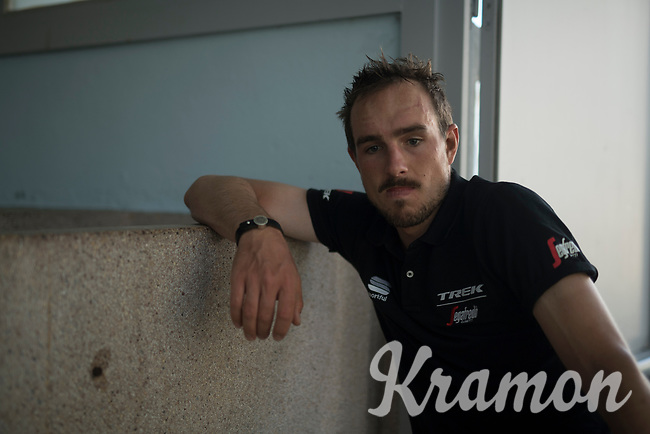 John Degenkolb (DEU/Trek-Segafredo) reflecting on his race (after finishing 10th) in the famous Roubaix shower complex<br /> <br /> 115th Paris-Roubaix 2017 (1.UWT)<br /> One Day Race: Compi&egrave;gne &rsaquo; Roubaix (257km)