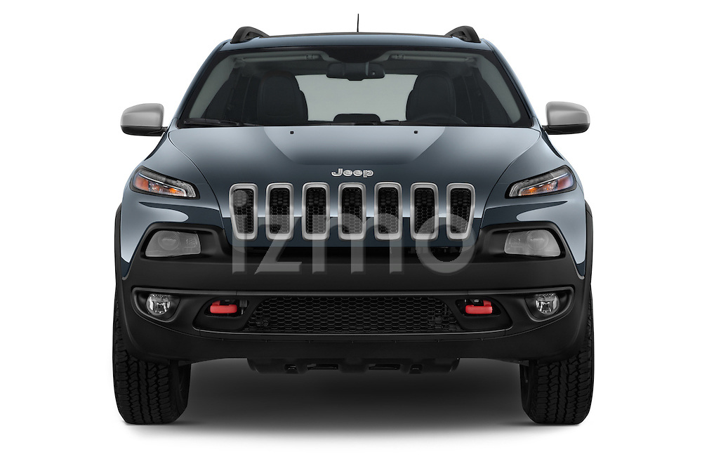 Car photography straight front view of a 2017 Volkswagen Cherokee Trailhawk 4X4 5 Door SUV
