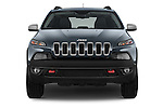 Car photography straight front view of a 2014 Volkswagen Cherokee Trailhawk 4X4 5 Door SUV