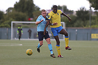 Regan Fakley-Wern of Stanway and Joel Nouble of Haringey during Haringey Borough vs Stanway Rovers, Emirates FA Cup Football at Coles Park Stadium on 25th August 2018