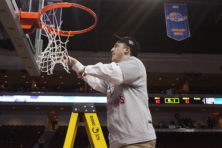 LAS VEGAS, NV - MARCH 8:  Net cutting after Saint Mary's 81-62 win over the Gonzaga Bulldogs in the championship game of the 2010 Zappos West Coast Conference Basketball Championships on March 8, 2010 at Orleans Arena in Las Vegas Nevada.