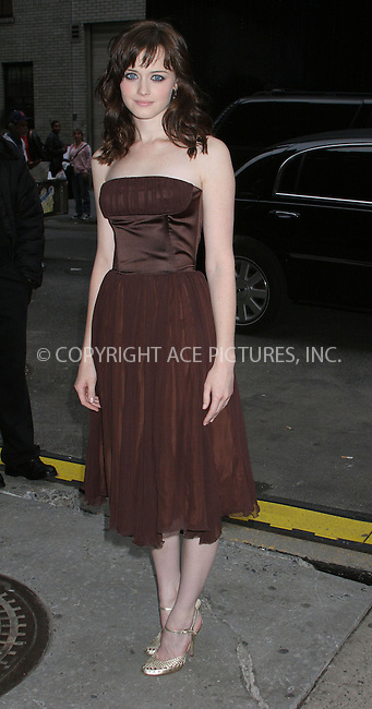 WWW.ACEPIXS.COM . . . . .  ....NEW YORK, MAY 23, 2005....Alexis Bledel arrives for an appearance on The Late Show with David Letterman.....Please byline: ACE005 - ACE PICTURES.   .. *** ***  ..Ace Pictures, Inc:  ..Craig Ashby (212) 243-8787..e-mail: picturedesk@acepixs.com..web: http://www.acepixs.com