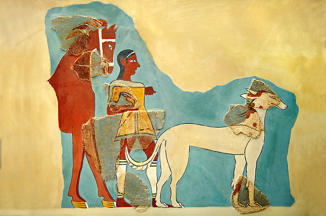 Mycenaean Fresco wall painting  of a Mycanaean with horse & wild boar hunting dog from the Tiryns, Greece. 14th - 13th Century BC. Athens Archaeological Museum.