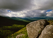Cloud cover from a scenic viewpoint along the Caps Ridge Trail in the White Mountain National Forest of New Hampshire USA.