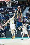 Pierria Henry (r) shoots for two points against Facundo Campazzo during Real Madrid vs Kirolbet Baskonia game of Liga Endesa. 19 January 2020. (Alterphotos/Francis Gonzalez)