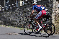 Christophe Laporte (FRA/Cofidis) in the blue jersey as GC leader up the Cote Thier Philippart with a minutes gap behind the break away group. <br /> <br /> <br /> Baloise Belgium Tour 2018<br /> Stage 4:  Wanze - Wanze 147.3km